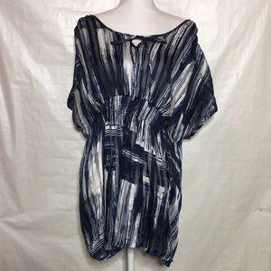 :Lane Bryant Blue Striped Blouse